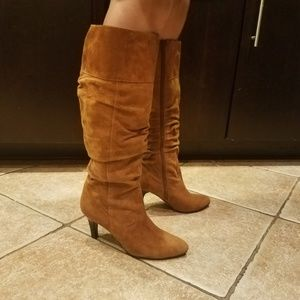 Chicos Ingrid Suede Slouchy Tan Heeled Boots